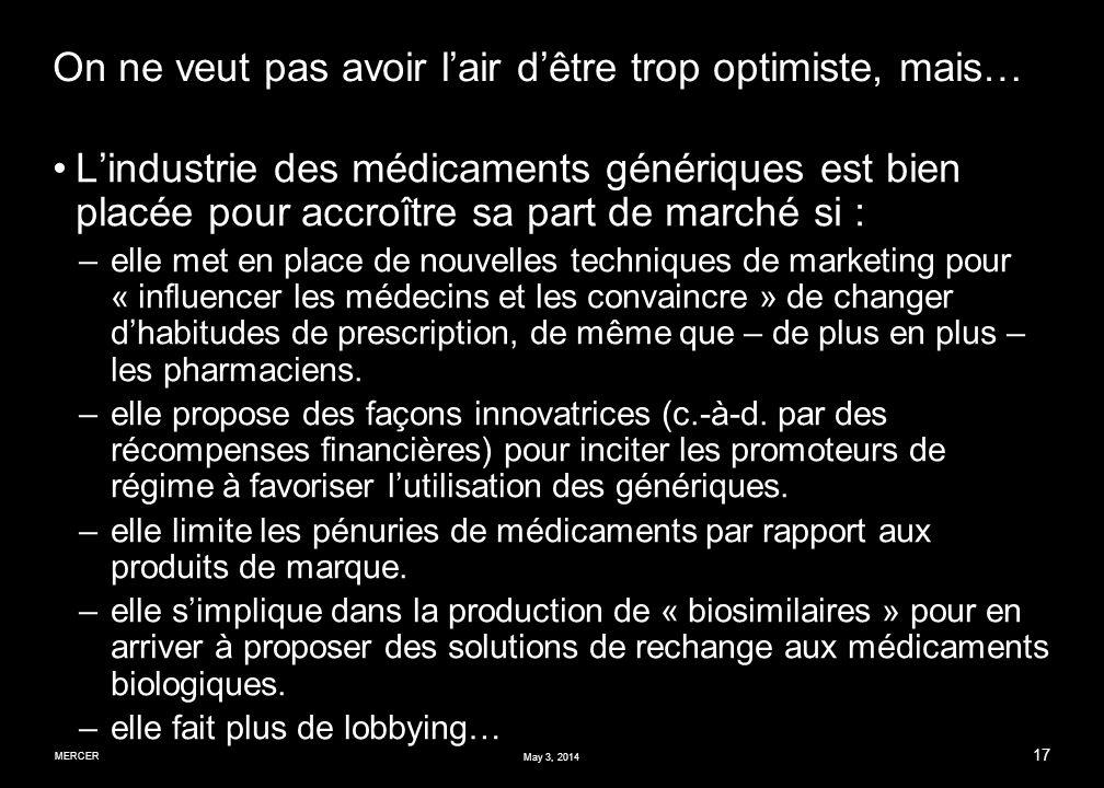 MERCER 17 May 3, 2014 On ne veut pas avoir lair dêtre trop optimiste, mais… Lindustrie des médicaments génériques est bien placée pour accroître sa part de marché si : –elle met en place de nouvelles techniques de marketing pour « influencer les médecins et les convaincre » de changer dhabitudes de prescription, de même que – de plus en plus – les pharmaciens.