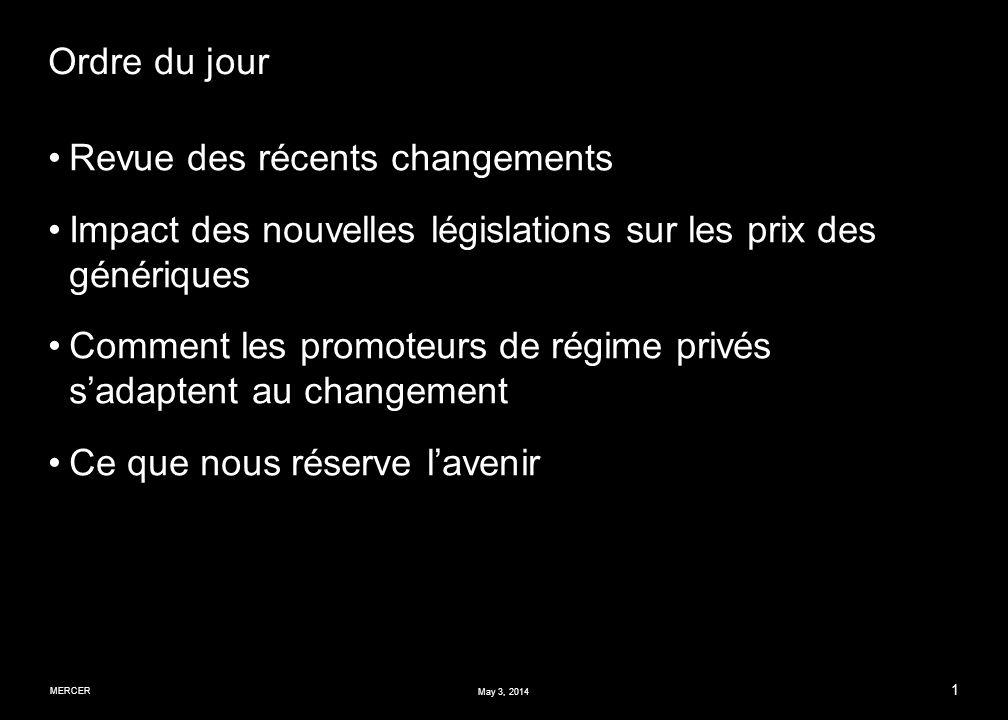 MERCER 1 May 3, 2014 Ordre du jour Revue des récents changements Impact des nouvelles législations sur les prix des génériques Comment les promoteurs de régime privés sadaptent au changement Ce que nous réserve lavenir