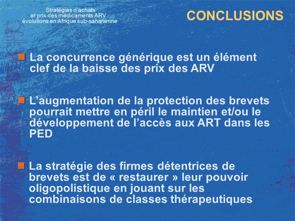 Stratégies dachats et prix des médicaments ARV : évolutions en Afrique sub-saharienne CONCLUSIONS La stratégie des firmes détentrices de brevets est d