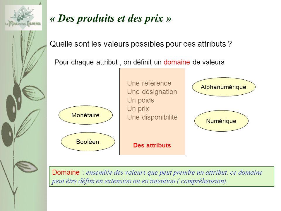 « Des produits et des prix » Quelle sont les valeurs possibles pour ces attributs .