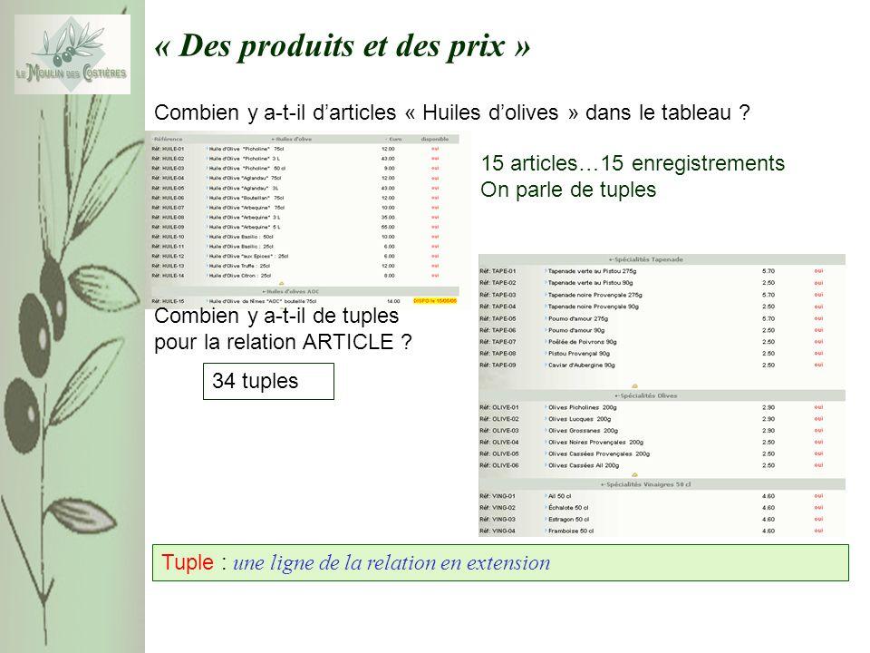 « Des produits et des prix » Combien y a-t-il darticles « Huiles dolives » dans le tableau .