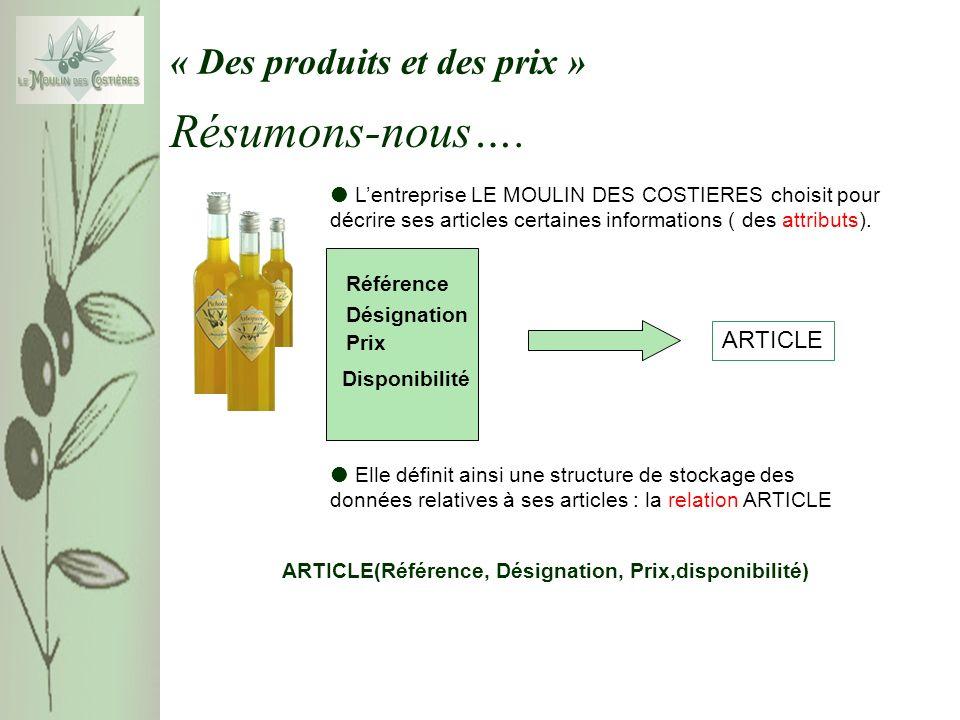 « Des produits et des prix » Lentreprise LE MOULIN DES COSTIERES choisit pour décrire ses articles certaines informations ( des attributs).