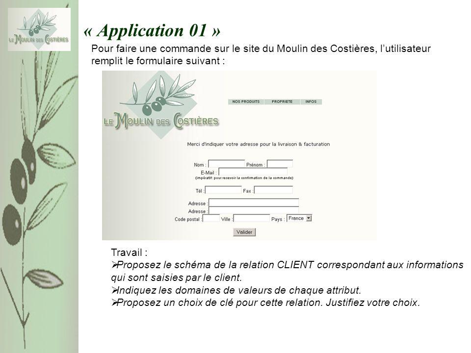 « Application 01 » Pour faire une commande sur le site du Moulin des Costières, lutilisateur remplit le formulaire suivant : Travail : Proposez le schéma de la relation CLIENT correspondant aux informations qui sont saisies par le client.