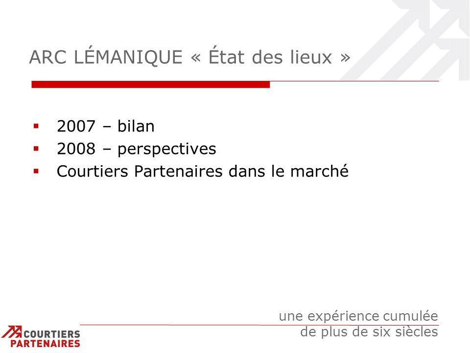 ARC LÉMANIQUE « État des lieux » 2007 – bilan 2008 – perspectives Courtiers Partenaires dans le marché une expérience cumulée de plus de six siècles