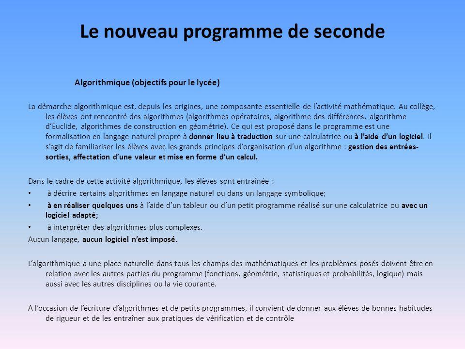 Le nouveau programme de seconde Algorithmique (objectifs pour le lycée) La démarche algorithmique est, depuis les origines, une composante essentielle