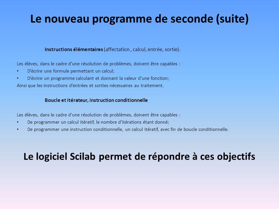 Le nouveau programme de seconde (suite) Instructions élémentaires (affectation, calcul, entrée, sortie). Les élèves, dans le cadre dune résolution de