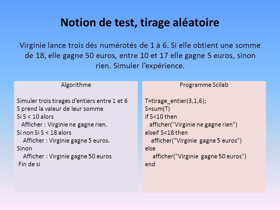 Notion de test, tirage aléatoire Virginie lance trois dés numérotés de 1 à 6. Si elle obtient une somme de 18, elle gagne 50 euros, entre 10 et 17 ell