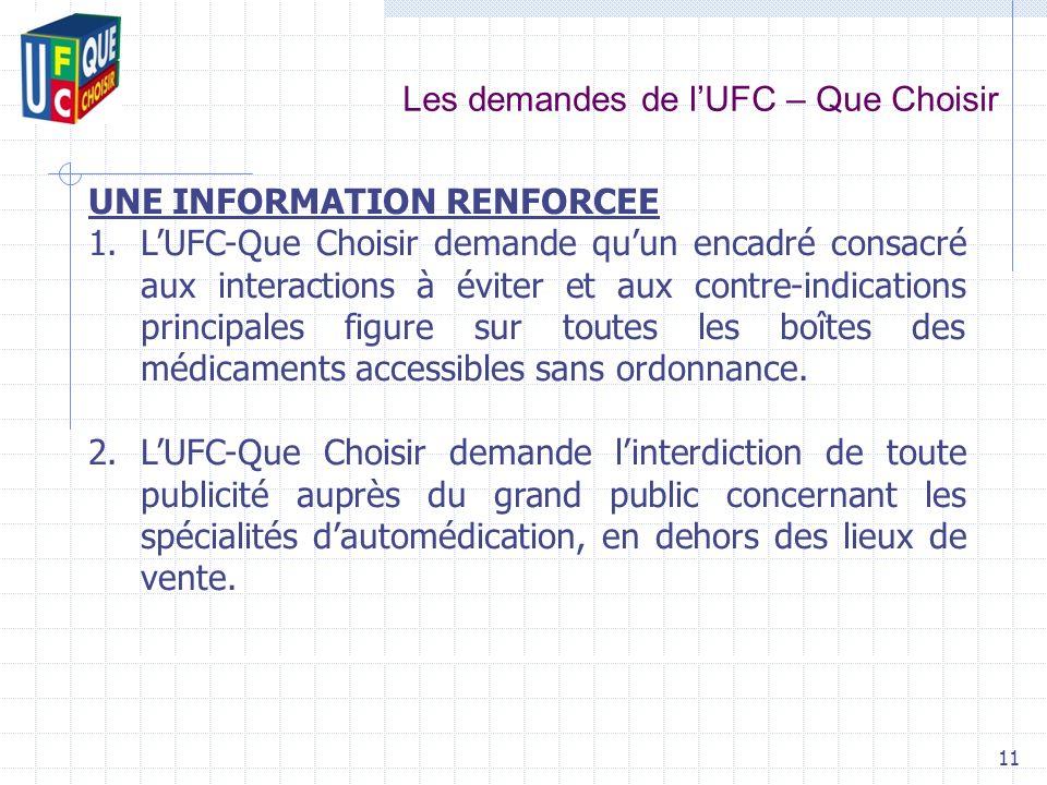 Les demandes de lUFC – Que Choisir 11 UNE INFORMATION RENFORCEE 1.LUFC-Que Choisir demande quun encadré consacré aux interactions à éviter et aux cont