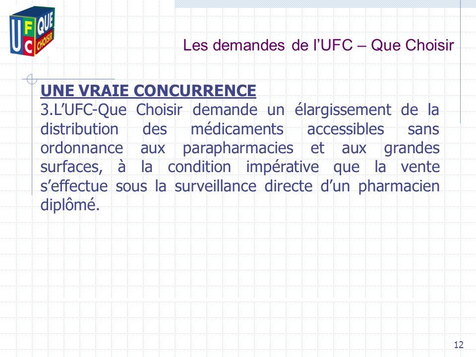 Les demandes de lUFC – Que Choisir 12 UNE VRAIE CONCURRENCE 3.LUFC-Que Choisir demande un élargissement de la distribution des médicaments accessibles