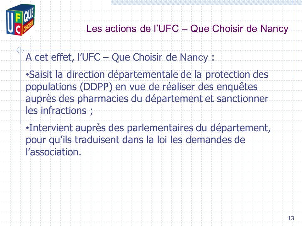 Les actions de lUFC – Que Choisir de Nancy 13 A cet effet, lUFC – Que Choisir de Nancy : Saisit la direction départementale de la protection des popul