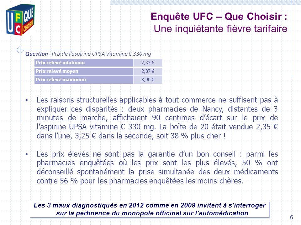 Enquête UFC – Que Choisir : Une inquiétante fièvre tarifaire Les 3 maux diagnostiqués en 2012 comme en 2009 invitent à sinterroger sur la pertinence d