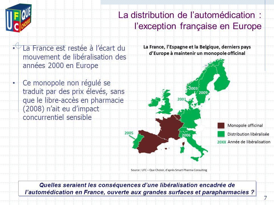 La distribution de lautomédication : lexception française en Europe Quelles seraient les conséquences dune libéralisation encadrée de lautomédication en France, ouverte aux grandes surfaces et parapharmacies .