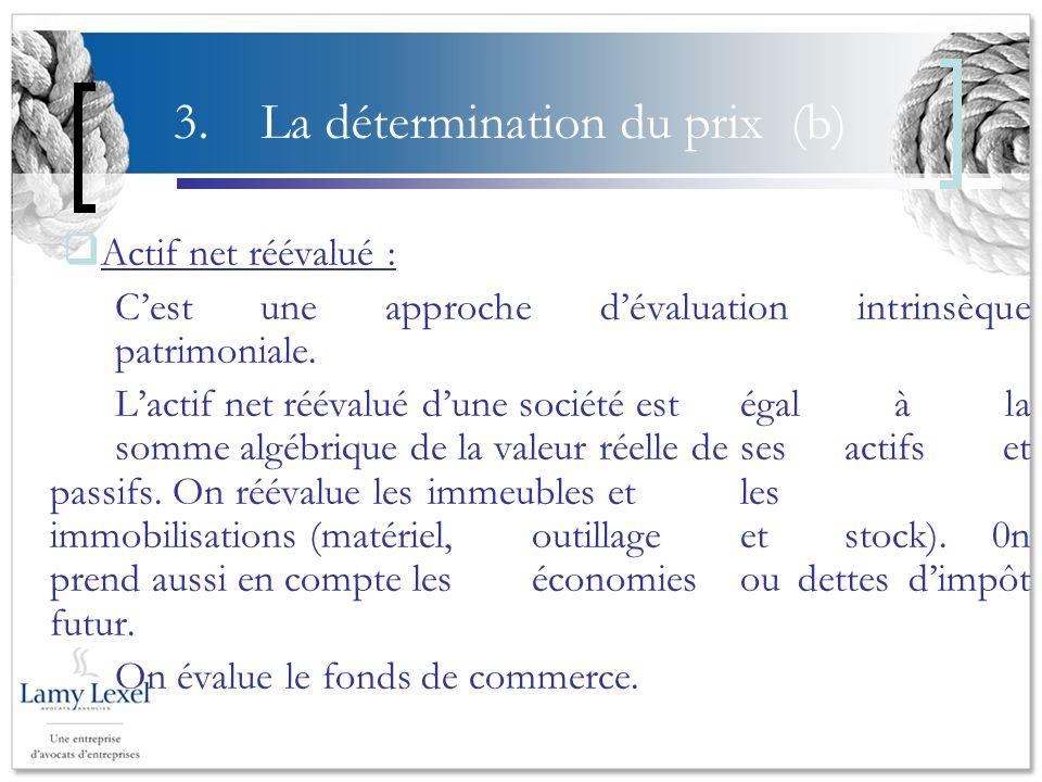 3. La détermination du prix (b) Actif net réévalué : Cest une approche dévaluation intrinsèque patrimoniale. Lactif net réévalué dune société est égal