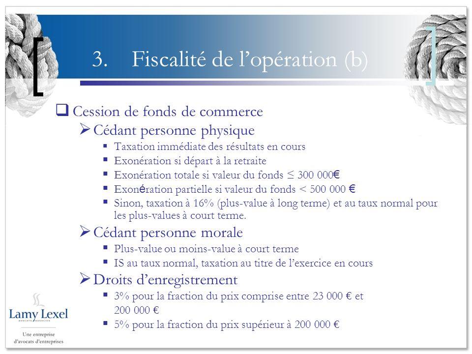 3. Fiscalité de lopération (b) Cession de fonds de commerce Cédant personne physique Taxation immédiate des résultats en cours Exonération si départ à