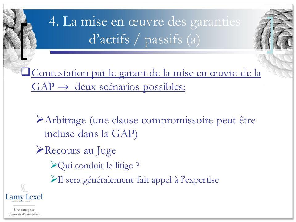 4. La mise en œuvre des garanties dactifs / passifs (a) Contestation par le garant de la mise en œuvre de la GAP deux scénarios possibles: Arbitrage (