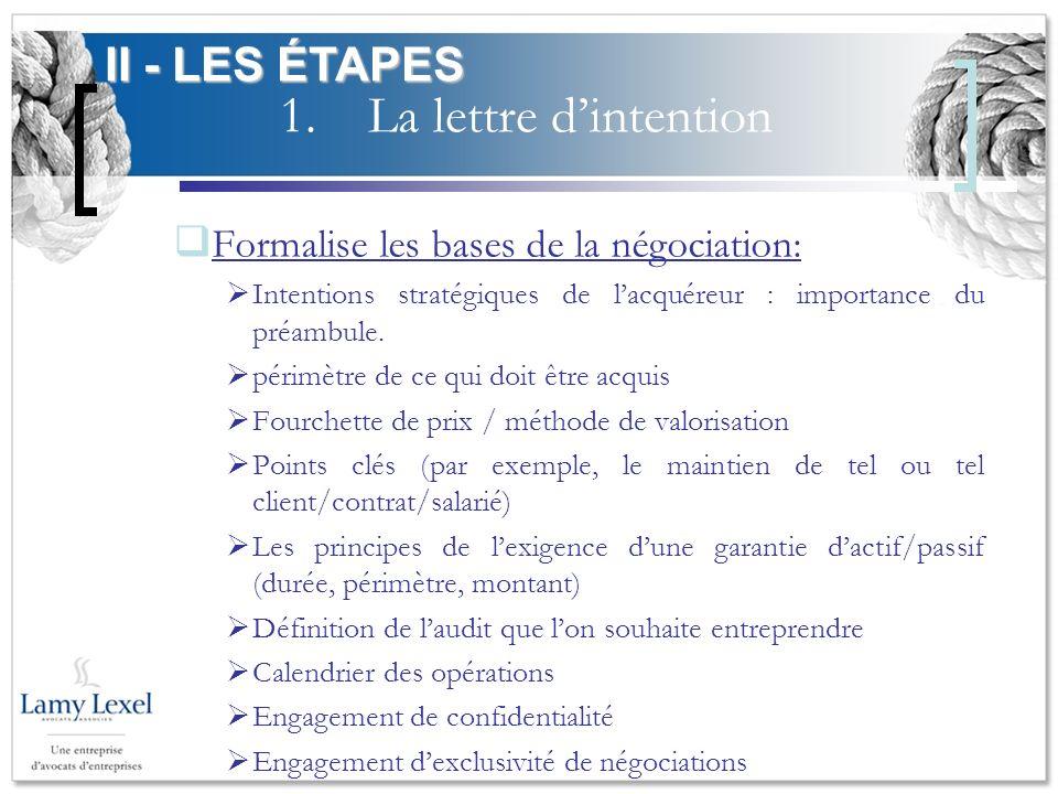 1.La lettre dintention Formalise les bases de la négociation: Intentions stratégiques de lacquéreur : importance du préambule. périmètre de ce qui doi