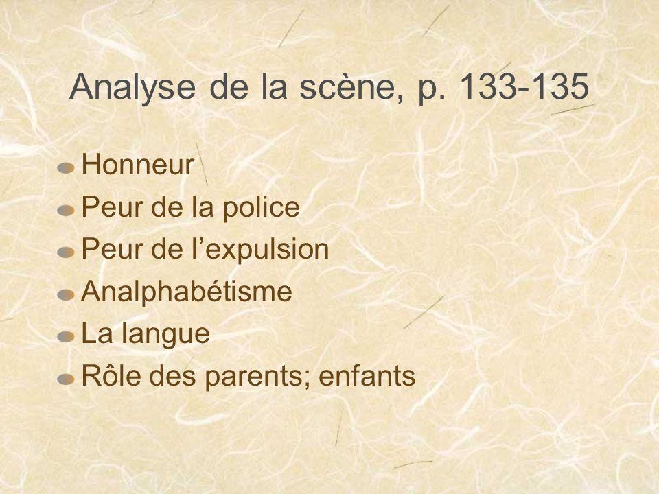 Analyse de la scène, p. 133-135 Honneur Peur de la police Peur de lexpulsion Analphabétisme La langue Rôle des parents; enfants