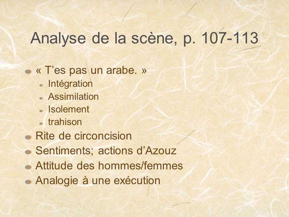 Analyse de la scène, p. 107-113 « Tes pas un arabe. » Intégration Assimilation Isolement trahison Rite de circoncision Sentiments; actions dAzouz Atti