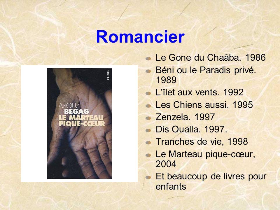Romancier Le Gone du Chaâba. 1986 Béni ou le Paradis privé. 1989 L'îlet aux vents. 1992 Les Chiens aussi. 1995 Zenzela. 1997 Dis Oualla. 1997. Tranche