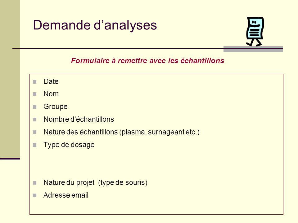 Rendu des résultats Les résultats sont sortis sur imprimante et sont transmis par e-mail sous forme de tableau Excel avec toutes les données utiles.