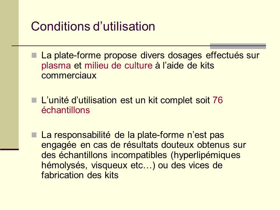 Demande danalyses Date Nom Groupe Nombre déchantillons Nature des échantillons (plasma, surnageant etc.) Type de dosage Nature du projet (type de sour