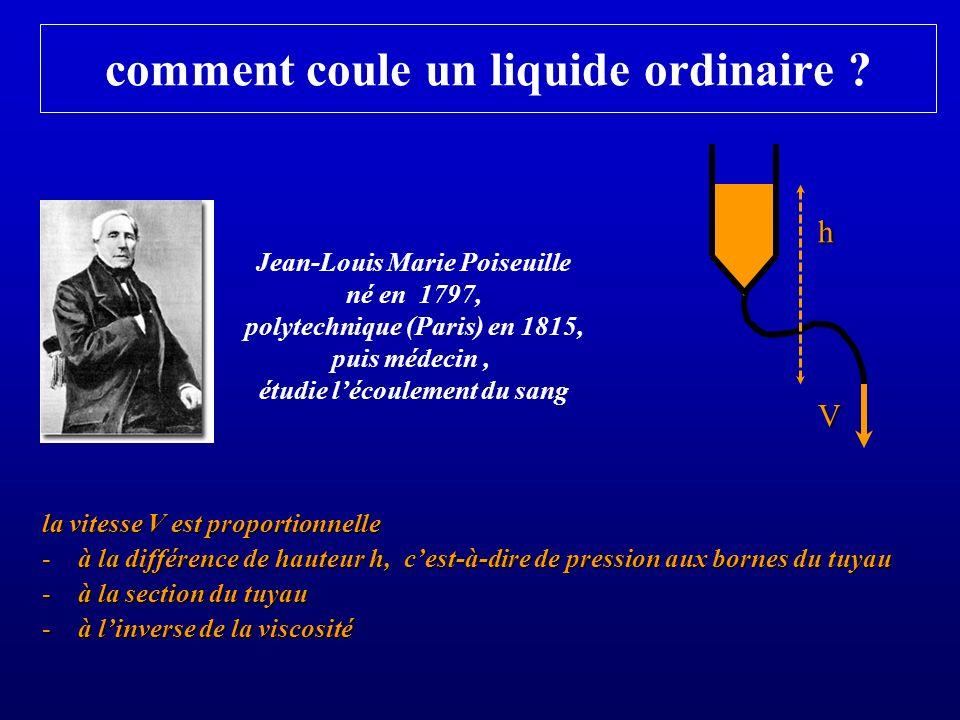 comment coule un liquide ordinaire ? la vitesse V est proportionnelle -à la différence de hauteur h, cest-à-dire de pression aux bornes du tuyau -à la