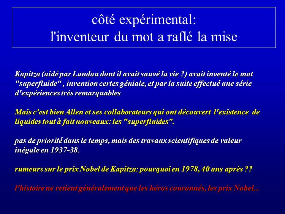 côté expérimental: l'inventeur du mot a raflé la mise Kapitza (aidé par Landau dont il avait sauvé la vie ?) avait inventé le mot