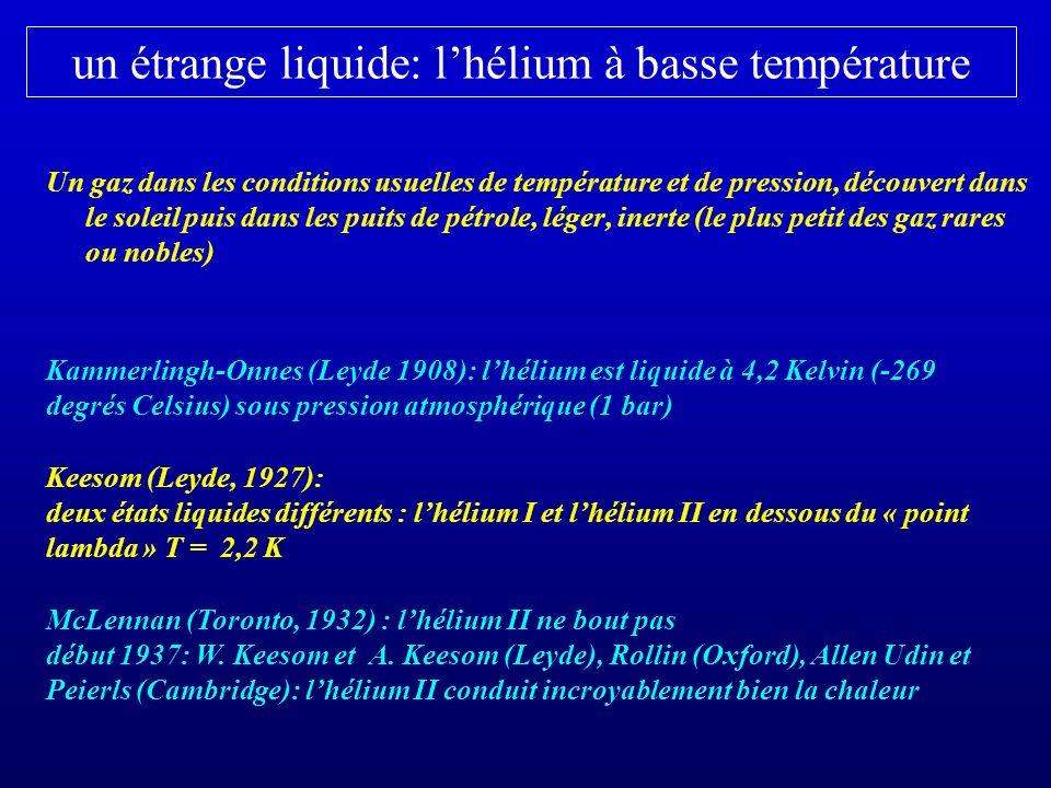 un étrange liquide: lhélium à basse température Un gaz dans les conditions usuelles de température et de pression, découvert dans le soleil puis dans