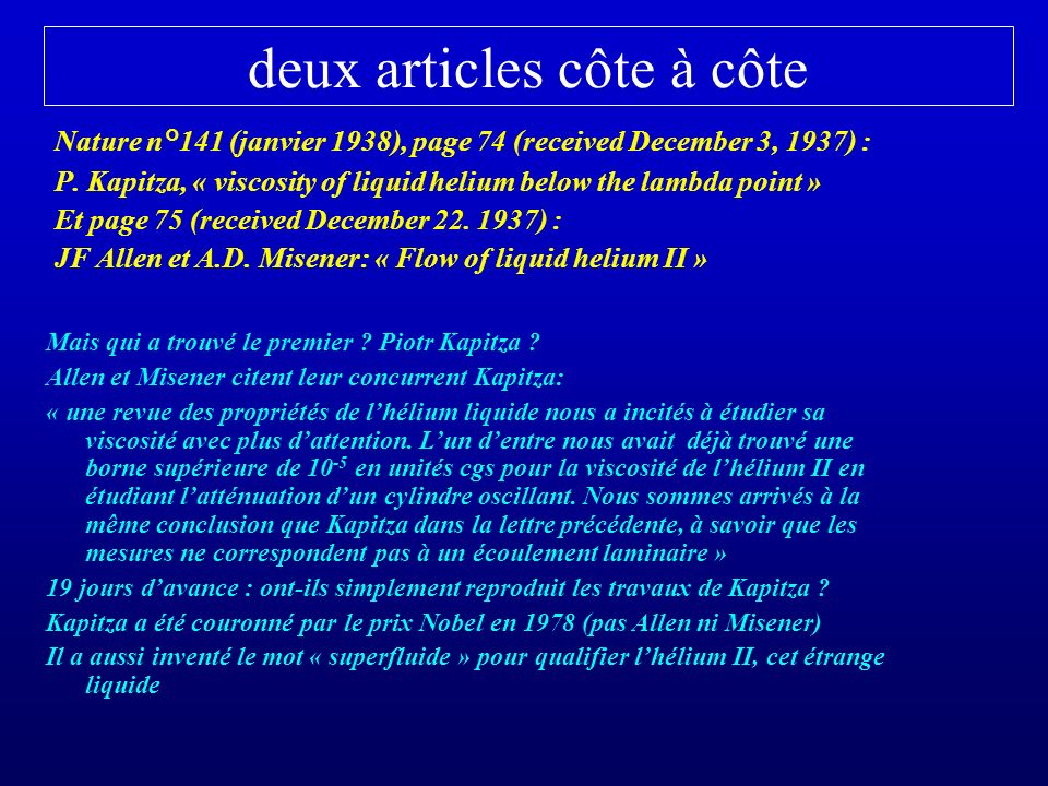 deux articles côte à côte Nature n°141 (janvier 1938), page 74 (received December 3, 1937) : P.