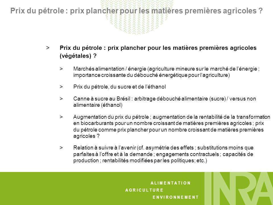 A L I M E N T A T I O N A G R I C U L T U R E E N V I R O N N E M E N T Prix du pétrole : prix plancher pour les matières premières agricoles .