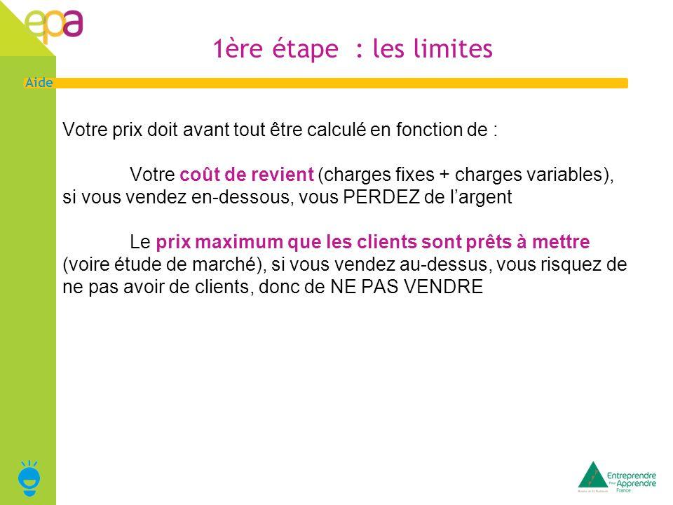 2 Aide 1ère étape : les limites Votre prix doit avant tout être calculé en fonction de : Votre coût de revient (charges fixes + charges variables), si