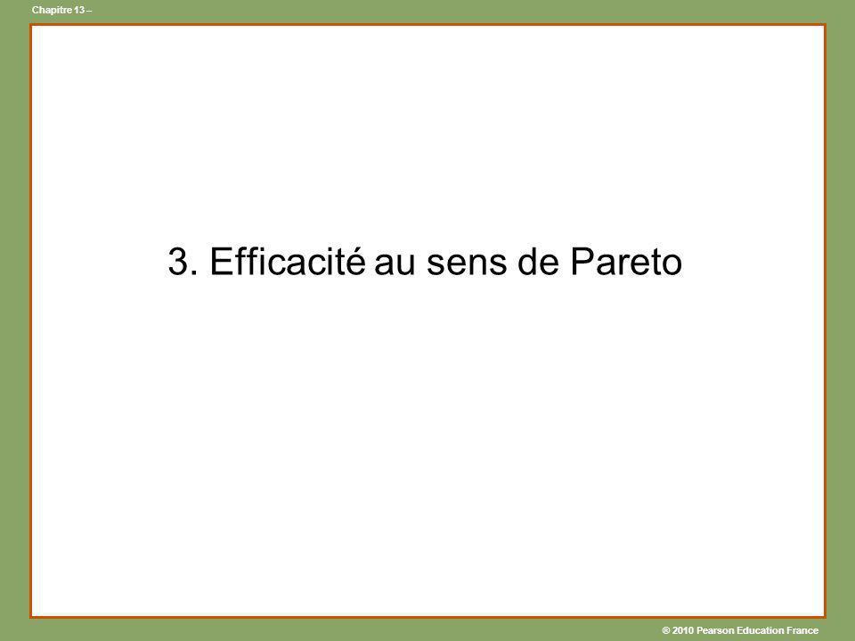 ® 2010 Pearson Education France Chapitre 13 – 3. Efficacité au sens de Pareto