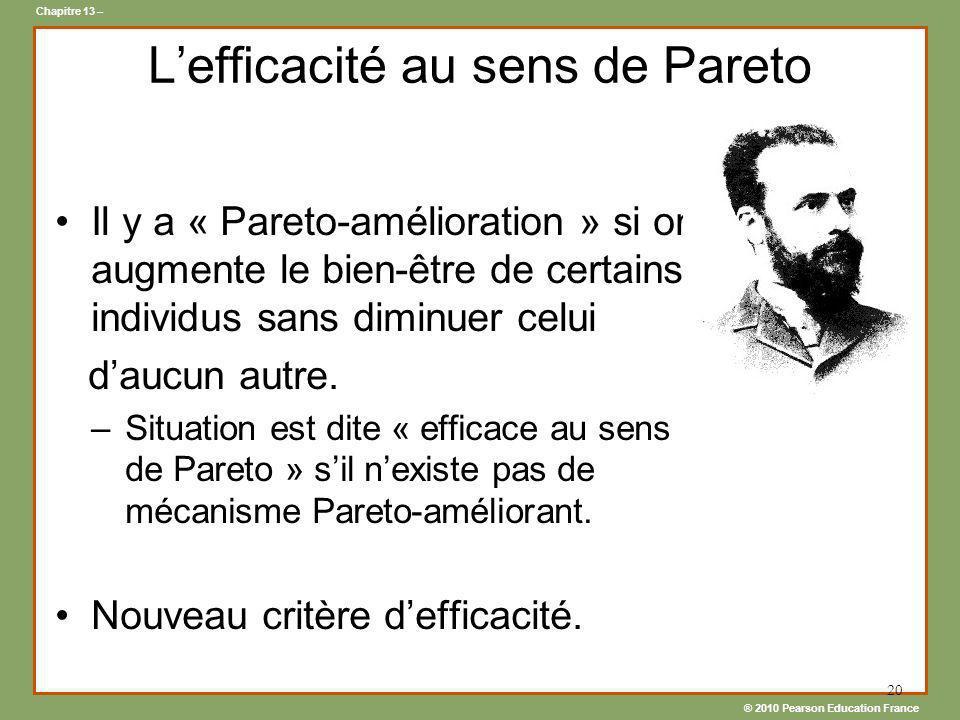 ® 2010 Pearson Education France Chapitre 13 – 20 Lefficacité au sens de Pareto Il y a « Pareto-amélioration » si on augmente le bien-être de certains