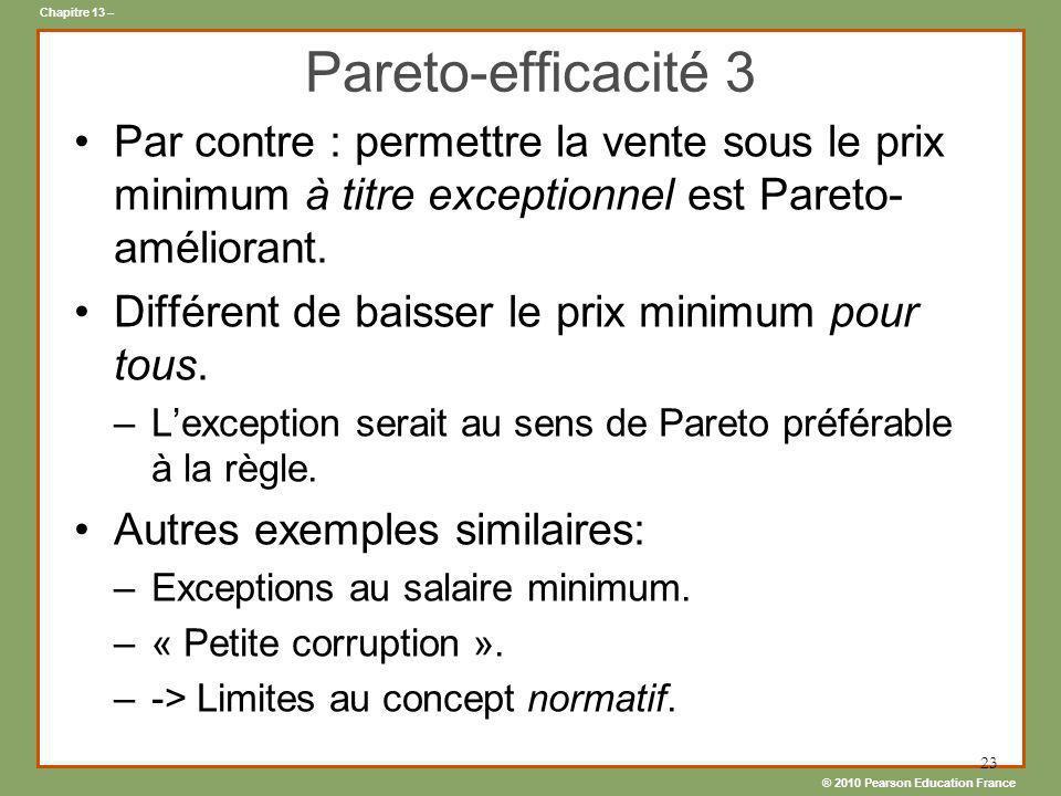 ® 2010 Pearson Education France Chapitre 13 – 23 Pareto-efficacité 3 Par contre : permettre la vente sous le prix minimum à titre exceptionnel est Par