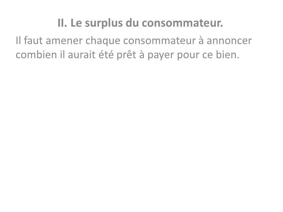 II. Le surplus du consommateur. Il faut amener chaque consommateur à annoncer combien il aurait été prêt à payer pour ce bien.