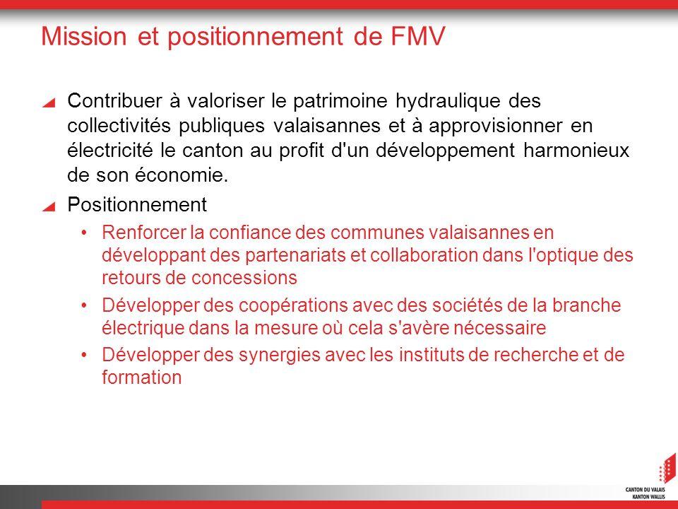 Mission et positionnement de FMV Contribuer à valoriser le patrimoine hydraulique des collectivités publiques valaisannes et à approvisionner en élect