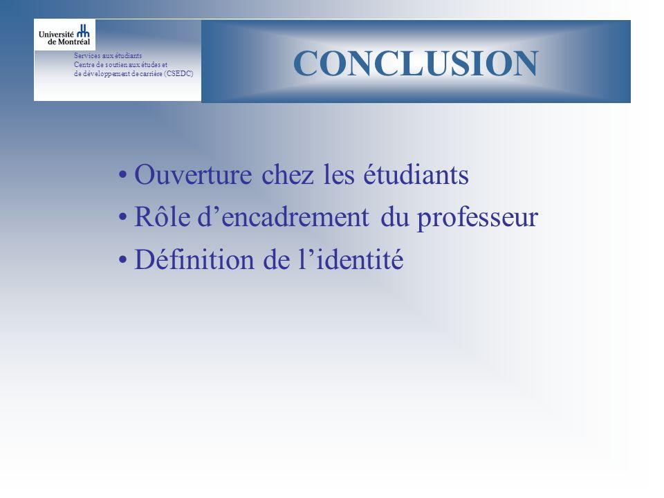 Services aux étudiants Centre de soutien aux études et de développement de carrière (CSEDC) CONCLUSION Ouverture chez les étudiants Rôle dencadrement du professeur Définition de lidentité