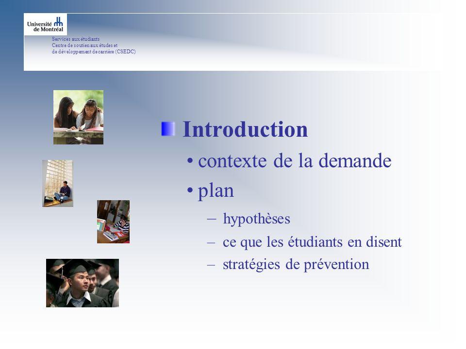 Services aux étudiants Centre de soutien aux études et de développement de carrière (CSEDC) Introduction contexte de la demande plan – hypothèses – ce que les étudiants en disent – stratégies de prévention