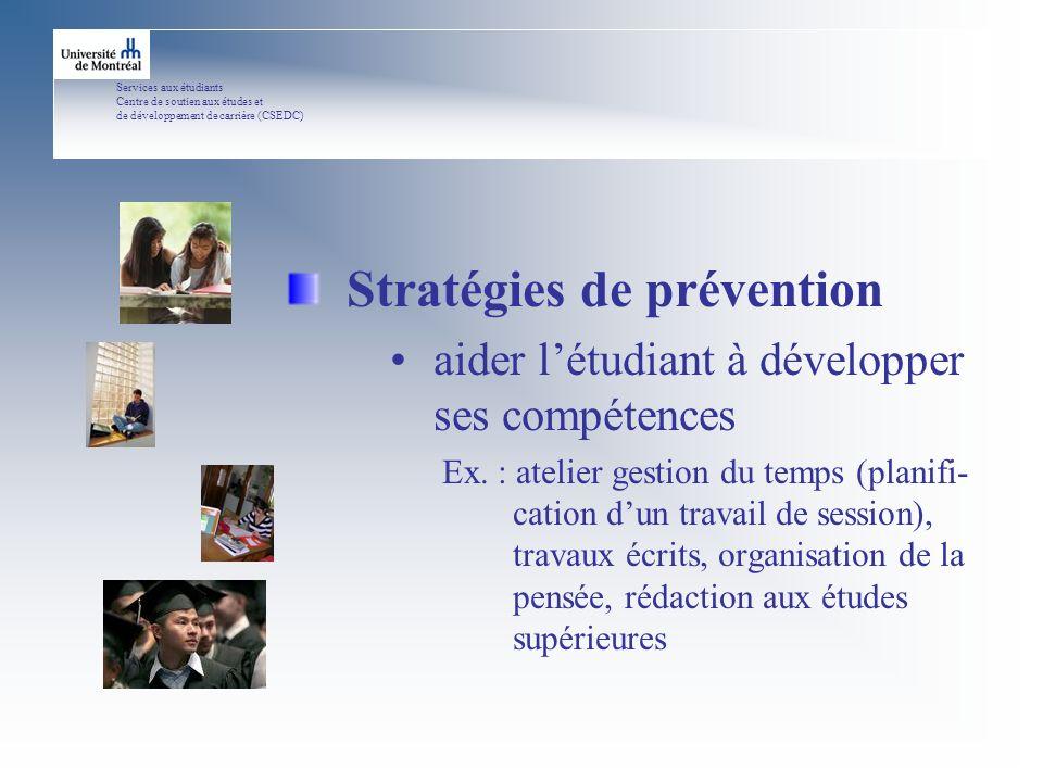 Services aux étudiants Centre de soutien aux études et de développement de carrière (CSEDC) Stratégies de prévention aider létudiant à développer ses compétences Ex.