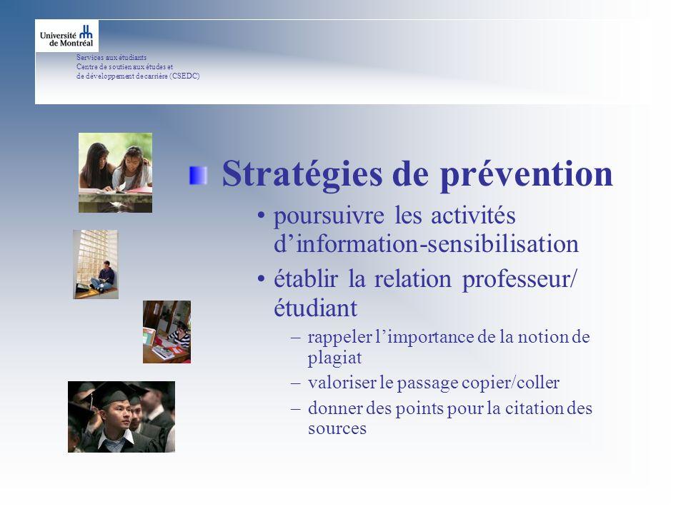 Services aux étudiants Centre de soutien aux études et de développement de carrière (CSEDC) Des pistes de solutions...