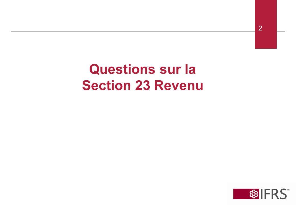 2 Questions sur la Section 23 Revenu