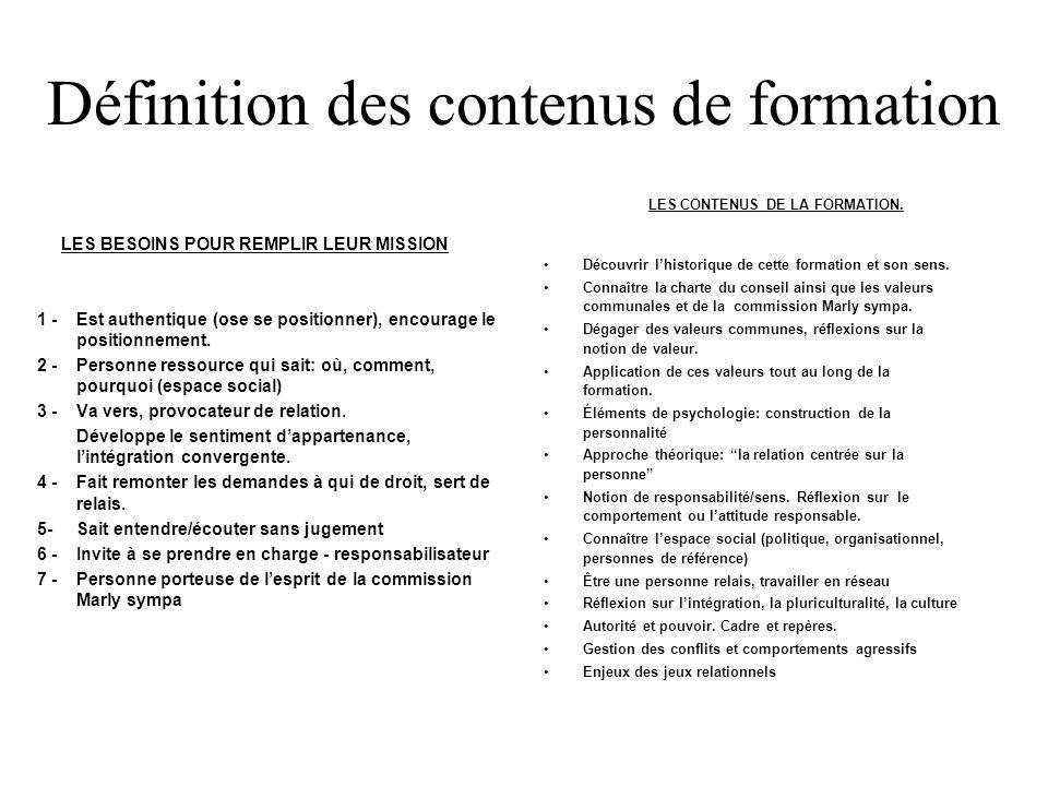 Définition des contenus de formation LES BESOINS POUR REMPLIR LEUR MISSION 1 -Est authentique (ose se positionner), encourage le positionnement.