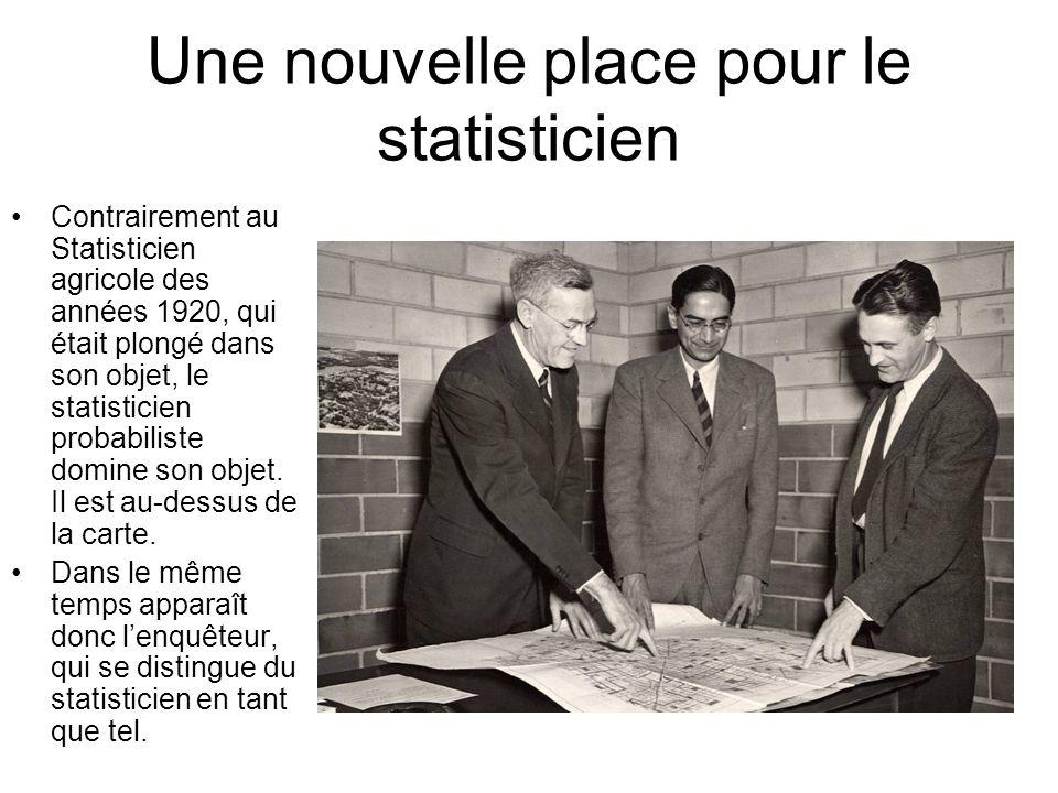 Une nouvelle place pour le statisticien Contrairement au Statisticien agricole des années 1920, qui était plongé dans son objet, le statisticien probabiliste domine son objet.