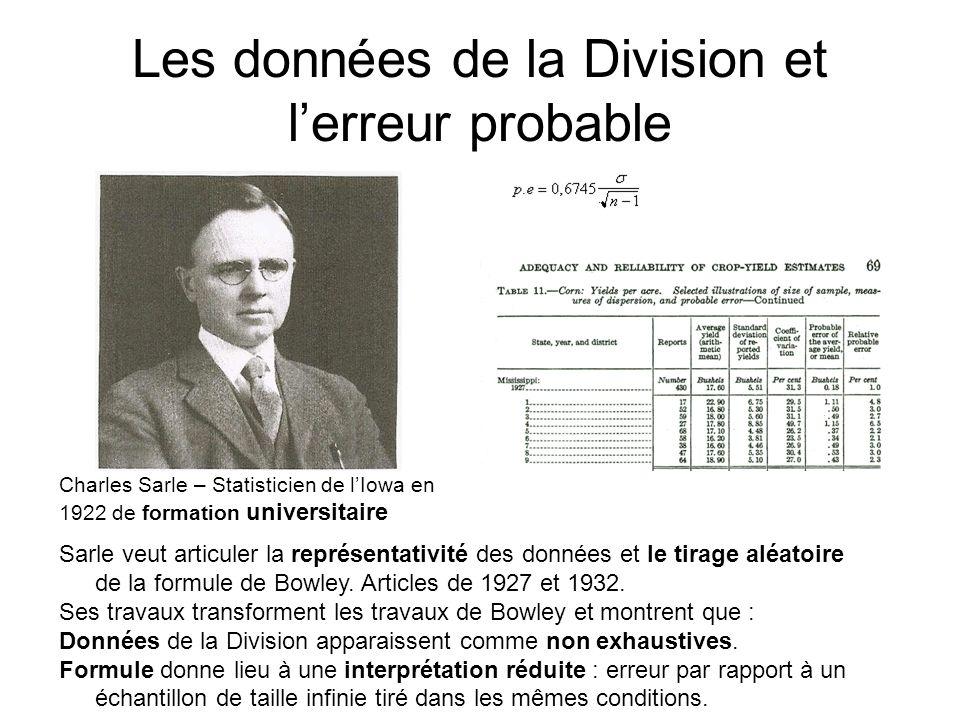 Les données de la Division et lerreur probable Sarle veut articuler la représentativité des données et le tirage aléatoire de la formule de Bowley.