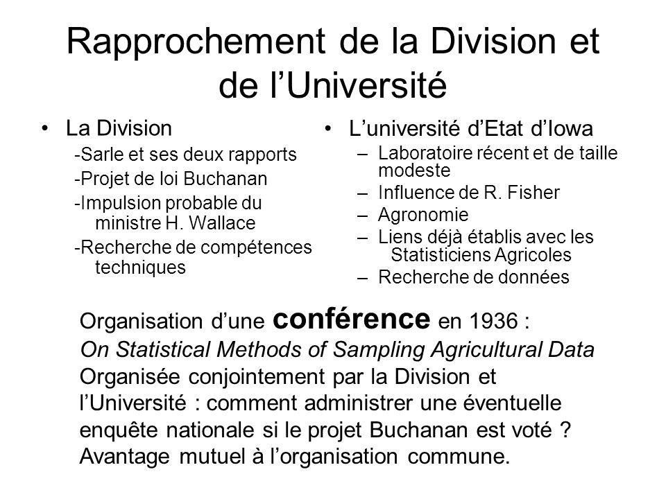 Rapprochement de la Division et de lUniversité La Division -Sarle et ses deux rapports -Projet de loi Buchanan -Impulsion probable du ministre H.