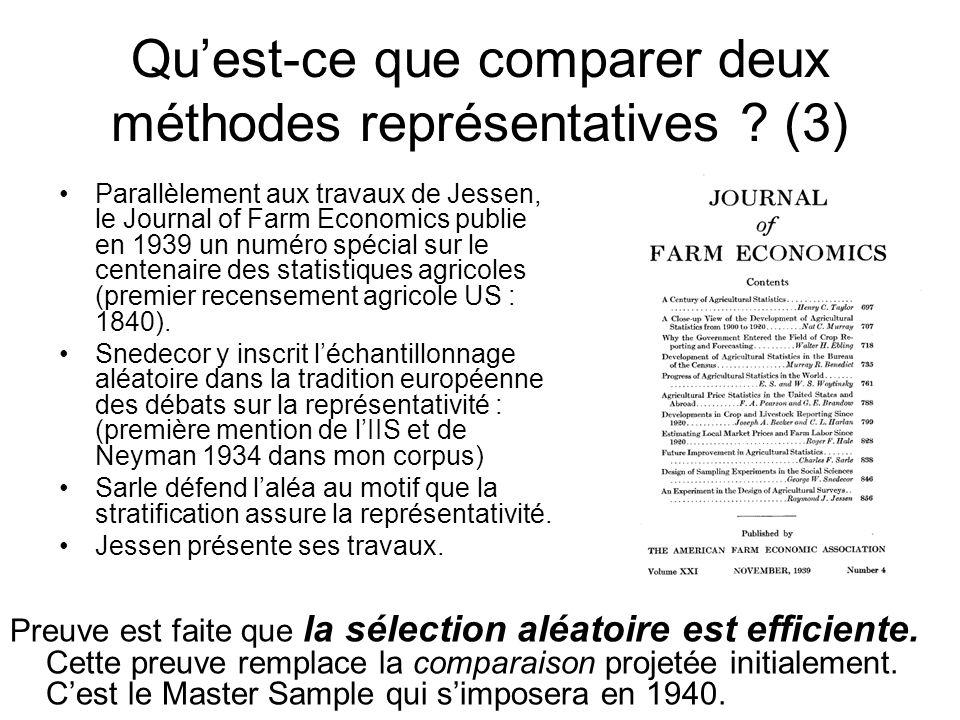 Quest-ce que comparer deux méthodes représentatives .