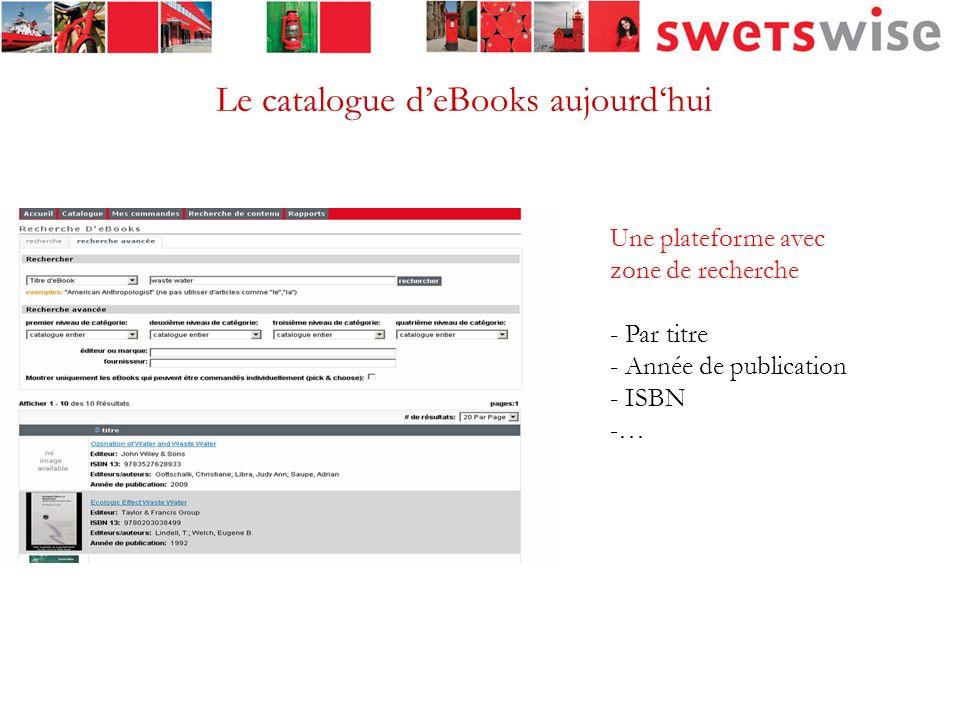7 Vérifier la disponibilité des livres électroniques Un point de recherche unique pour 1.000.000 deBooks, 43 fournisseurs (29 éditeurs et 16 agrégateurs) Toutes les matières couvertes Un outil pour comparer les prix Comparer les conditions de licences Commander les eBooks Générer une facturation avec un seul intermédiaire Service offert pour organiser les licences et laccès de la bibliothèque aux eBooks http://www.swetswise.com La solution SwetsWise: Catalogue dacquisition deBooks