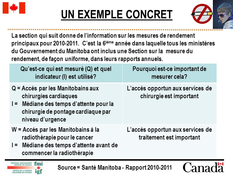 UN EXEMPLE CONCRET La section qui suit donne de linformation sur les mesures de rendement principaux pour 2010-2011.