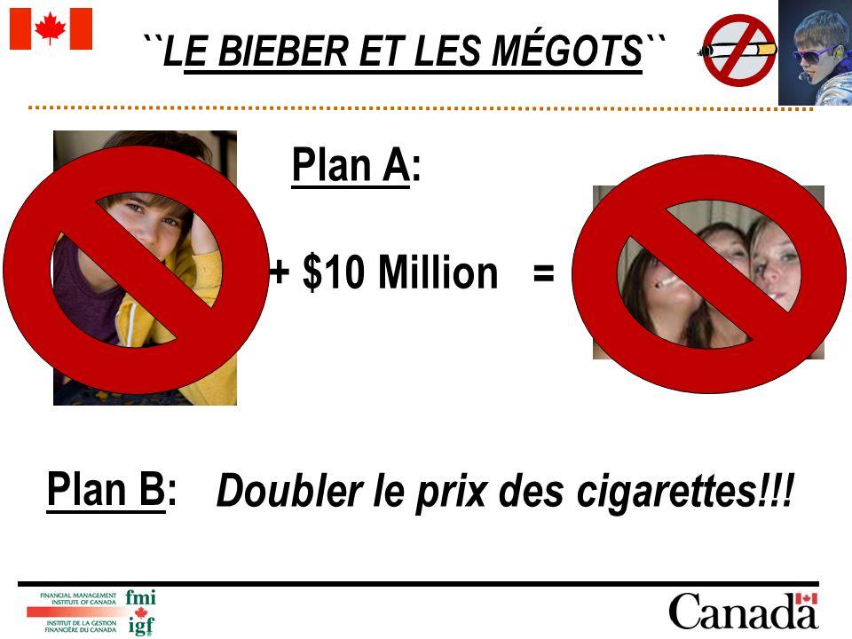 ``LE BIEBER ET LES MÉGOTS`` + $10 Million = Plan A: Plan B: Doubler le prix des cigarettes!!!