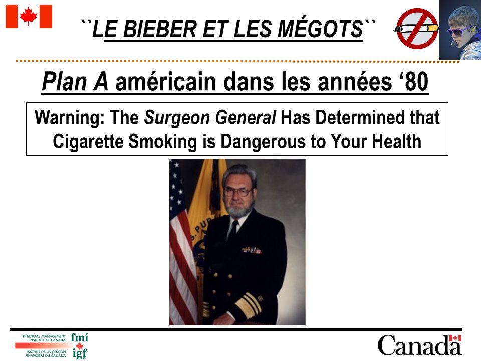 ``LE BIEBER ET LES MÉGOTS`` Plan A américain dans les années 80 Warning: The Surgeon General Has Determined that Cigarette Smoking is Dangerous to You